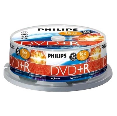 DVD+R Philips 4.7Gb 16x 25 шт Cake Box