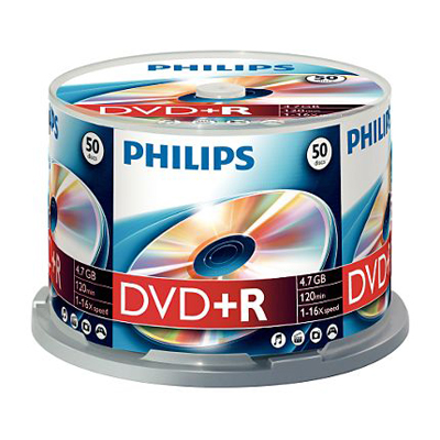 DVD+R Philips 4.7Gb 16x 50 шт Cake Box